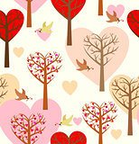 Seamless pattern with hearts, trees and birds. 