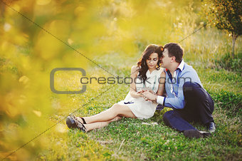 romantic couple in field
