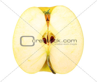 Slice of a fresh yellow apple