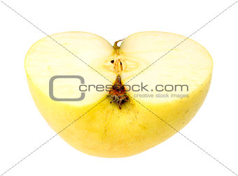 Horizontal slice of a fresh yellow apple