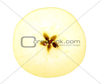 Circle slice of a fresh yellow apple