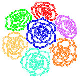 Large bouquet of roses. vector