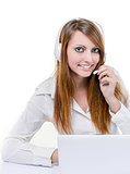 Smiling attractive woman in call center