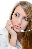attractive woman with headphone isolated