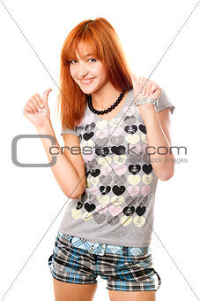 Portrait of cheerful red-haired girl