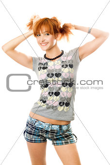 Portrait of smiling pretty red-haired girl