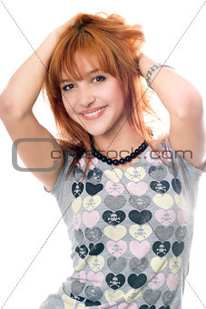 Portrait of cheerful pretty red-haired girl