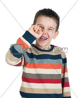 Child pick his nose
