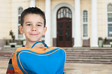 Boy with schoolbag
