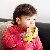 Baby eat banana