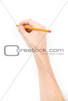 Hand with pencil writing something