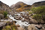 View of Tryfan looking up Ogwen Falls in Autumn Fall
