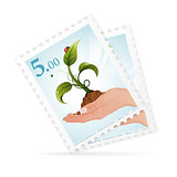 Postage Stamps with Hand and Sprout