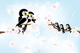 Spring greetings with family of swallow 