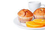 Muffins and orange slices