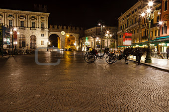 Medieval Gates in the Wall to Piazza Bra in Verona at Night, Veneto