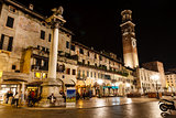 Lamperti Tower and Piazza delle Erbe at Night, Verona, Veneto, I