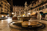 Statue of the Madonna on Piazza delle Erbe at Night, Verona, Ven