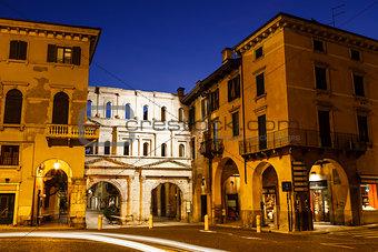 Ancient Roman Porta Borsari Gate in Verona at Night, Veneto, Ita