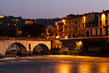 Ancient Roman Bridge over Adige River in Verona at Morning, Vene