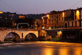 Ancient Roman Bridge over Adige River in Verona at Morning, Vene