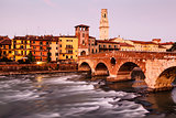 View of Adige River and Saint Peter Bridge in Verona, Veneto, It