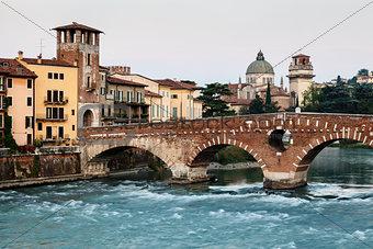 View of Adige River and Saint Peter Bridge in Verona, Veneto, It