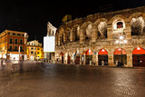 Ancient Roman Amphitheater on Piazza Bra in Verona at Night, Ven