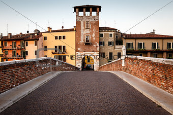 Saint Peter Bridge over Adige River in Verona, Veneto, Italy