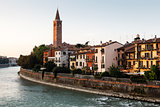Campanile of Saint Anastasia in Verona at Morning, Veneto, Italy