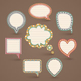 Vintage paper bubbles for speech.