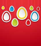 Hanging easter eggs.
