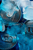 Metal cans under ice