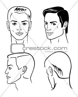 Four man outline faces