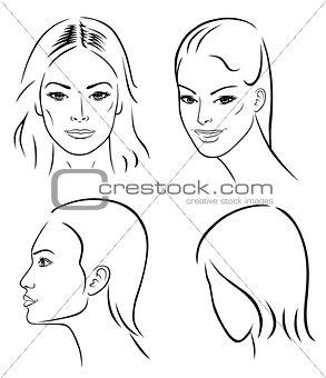 Four woman outline faces