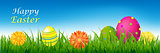 Happy Easter Banner With Grass And Eggs