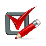 Red pencil and tick mark icon.