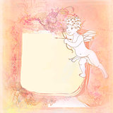 happy valentines day - vintage card with cupid 