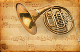 french horn. grunge musical background