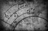 Music notes. grunge background