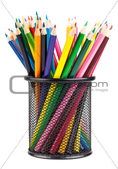 Various color pencils in black container