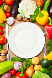 Organic Vegetables Around White Plate with Knife and Fork