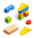 brick house. wooden toy set