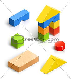 brick house. wooden toy set