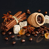 Coffee beans and spices.