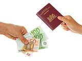 Man paying for passport