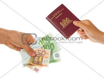 Man paying for passport