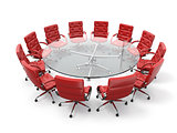 Concept of business meeting or brainstorming. Circle table and red armchairs