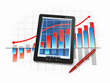Digital tablet pc with financial chart and graph