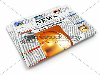 News. Folded newspaper on white isolated background